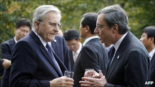ECB President Jean-Claude Trichet and Governor of the Bank of Italy Mario Draghi