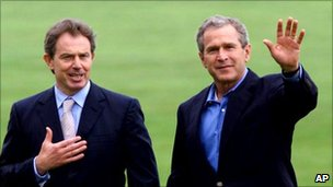 Tony Blair and George W Bush in 2001
