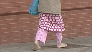 Woman wearing pyjamas on Middlesbrough street