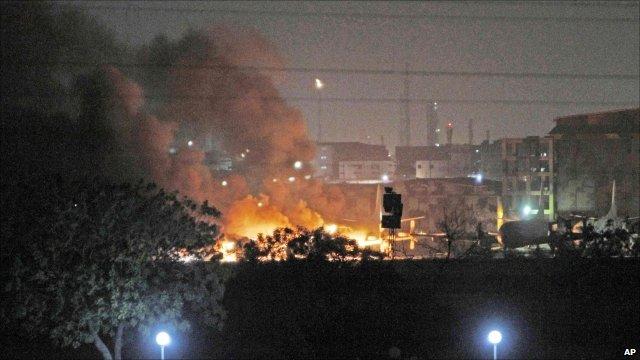 Smoke rising from the Mehran naval base