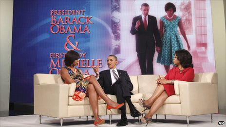 President Obama, wife Michelle and Oprah Winfrey