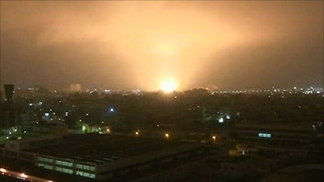 A Nato air strike hits Tripoli
