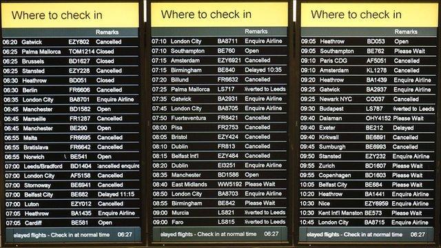 Departures board at Edinburgh airport
