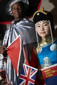Pupils from Trinidad and Mongolia in national dress.  Photo copyright Matt Grayson