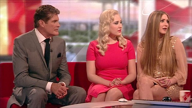 Actor David Hasselhoff and his daughters Taylor-Ann and Hayley