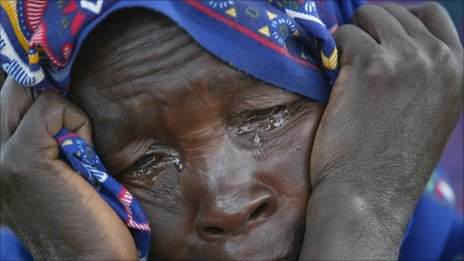 Sudanese woman crying