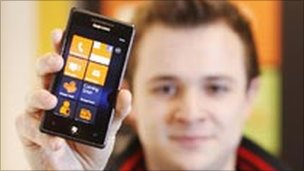 Man with a Windows Phone 7