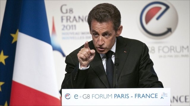 French President Nicolas Sarkozy addresing eG8 delegates in Paris
