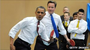 Barack Obama and David Cameron playing table tennis