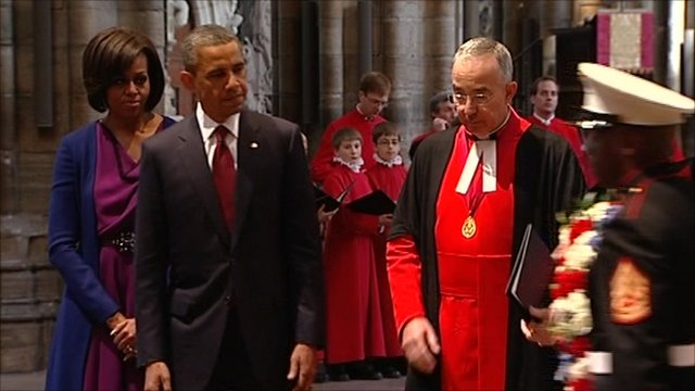Michelle and Barack Obama with Dean of Westminster Abbey, Dr John Hall