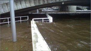 The River Clyde burst its banks under the George V Bridge