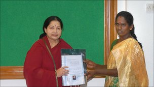 Jayalalithaa (left) and Ms Sarita