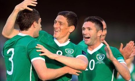 Stephen Ward (left), Keith Andrews and Robbie Keane