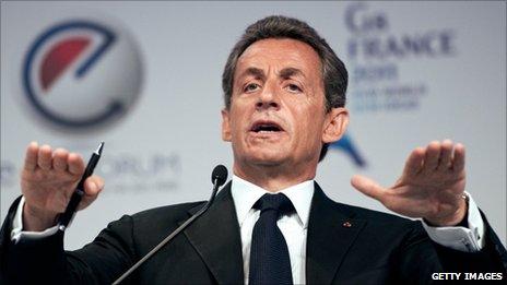 French President Nicolas Sarkozy speaking at the e-G8 forum