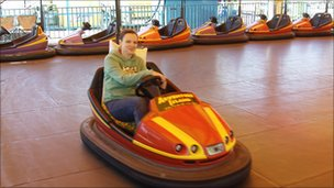 Laura Byng on board her dodgem three hours into her world record attempt