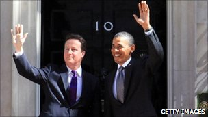 UK PM David Cameron and US President Barack Obama at No 10 Downing St (25 May 2011)