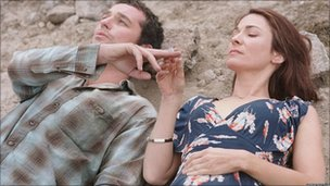 Nia Roberts as Gwen and Matthew Rhys as Mateo in Patagonia