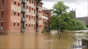Flood water in Worcester. July 2007