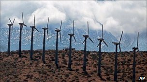 Power generating windmills in California