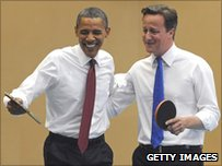 US President Barack Obama and UK PM David Cameron playing table tennis