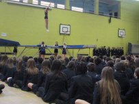 Natalia captures a moment from a school assembly on her visit to Coburn School