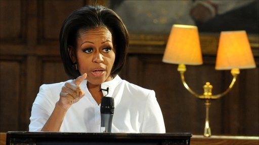 First Lady Michelle Obama addresses students from the Elizabeth Garrett Anderson School during a visit to Christ Church College at Oxford University, in Oxford on May 25, 2011