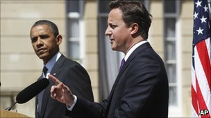 US President Barack Obama and UK Prime Minister David Cameron in London on Wednesday 25 May 2011