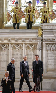 President Obama arrives for speech in Westminster Hall