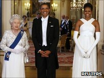 President Barack Obama and first lady Michelle Obama with the Queen