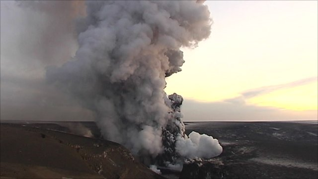 Ash exploding from the Grimsvotn volcano