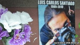 Memorial in the office to Luis Carlos Santiago