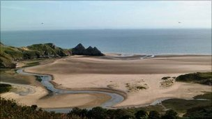 A quiet moment at Three Cliffs Bay in Gower, as captured by Martin Pike.