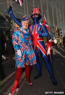 Union flag bedecked fans at Eurovision Song Contest