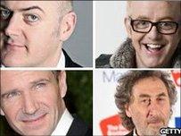 Dara O'Briain, Chris Evans, Ralph Fiennes a Howard Jacobson