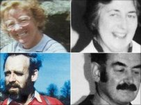 O'r dde ucha:  Helen Thomas, Richard Thomas, Peter Dixon a  Gwenda Dixon