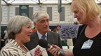Guernsey's Bailiff Sir Geoffrey Rowland and Lady Rowland speaking to Jenny Kendall-Tobias