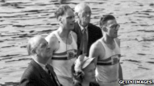 Richard Burnell and Bertram Bushnell just after winning the Olympic double sculls at Henley on Thames in 1948.