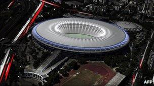 A 3D design of the new Maracana stadium, in Rio de Janeiro