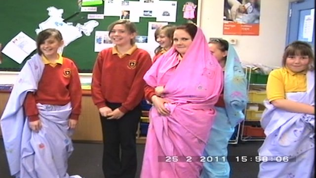 Ballykeel Primary school, inspired by Olympic Dreams twinning, enjoy a sari-making lesson
