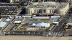 An aerial view of the G8 summit venue in Deauville, western France, on 25 May 2011