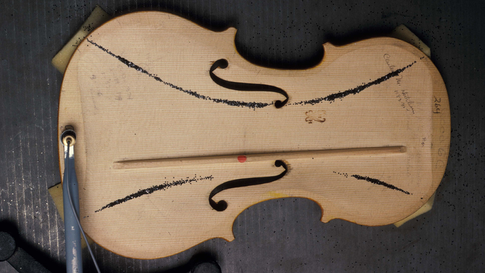 sound board inside a violin
