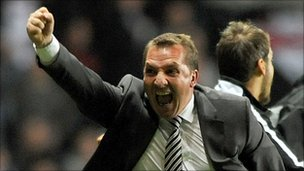 Manager Brendan Rodgers celebrates as Swansea reach the play-off final