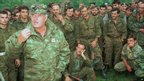 Bosnian Serb army commander Ratko Mladic addresses troops in 1995
