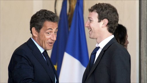 Mark Zuckerberg and Nicolas Sarkozy
