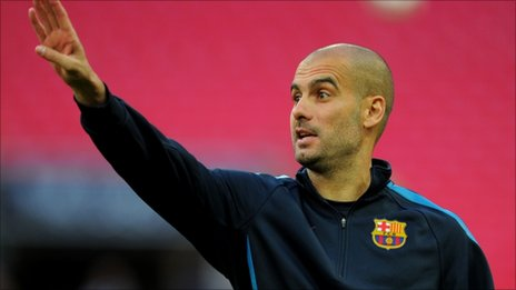 Barcelona coach Pep Guardiola makes a point his team train at Wembley on Friday ahead of the Champions League final