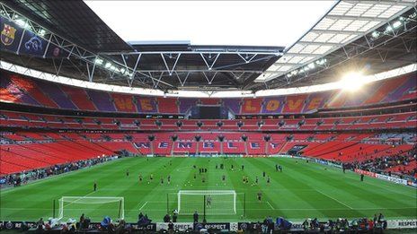 Barcelona train at Wembley on Friday as the stadium prepares to host the Champions League final