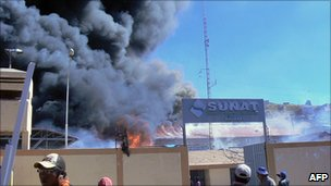 Customs warehouse in Puno on fire after it was attacked overnight