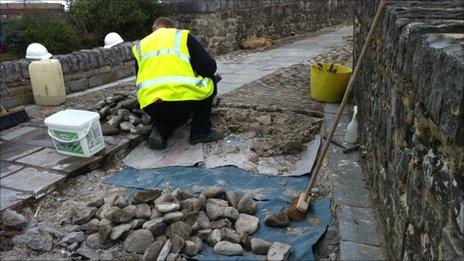 Restoration work on the bridge at Bridgend