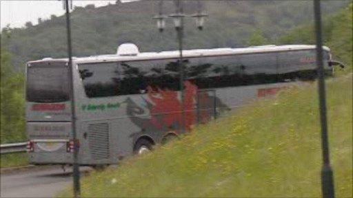 Swansea City team coach sets off