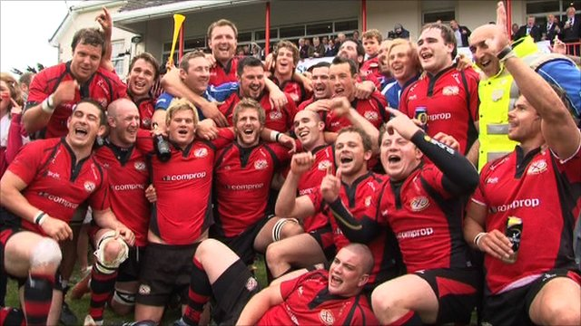 Jersey Rugby Club celebrate after their 30-5 win over Loughborough Students